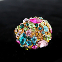 Wholesale Three Finger Gold Plate - Charming Shiny18K Gold Plated Alloy Colorful Round Rhinestone Big Finger Rings for Women
