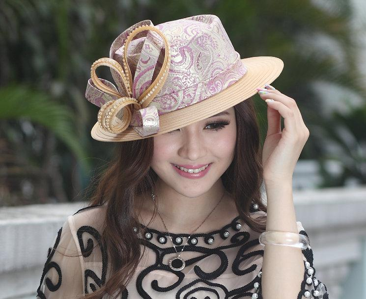 40e0cec2e Formal Lady Hat Women Church Hat Top Hat Young Girl Satin Dress Hat Satin  Church Hats With Diamond Casings Free Shipping 2014 New Arrival