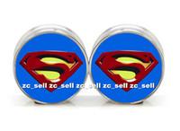 Wholesale Superman Ear Tunnels - 6mm-25mm Wholesale body jewelry superman logo stainless steel double flared ear plug gauge flesh tunnel ear expander 60pcs lot SDF0075