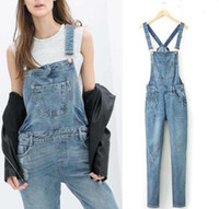 Wholesale Suspender Jumpsuit - Free Shipping Summer Women's Denim Overall Broken Hole Design Loose Denim Jumpsuit Jeans Suspender Trousers