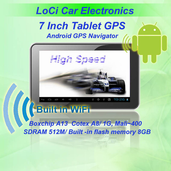 Free shipping! 7 inch car Android GPS navigator Tablet +A13 1GHZ+DDR512M+Capacitive screen+Android4.0+8GB IGO&Naivtel map