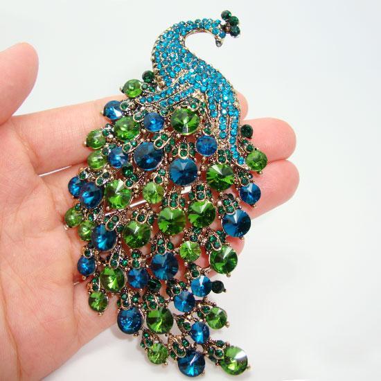 Al por mayor-Art Nouveau Peacock Broche Vintage Emerald Green Crystal Rhinestone Jewelry Animals