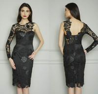 Wholesale Dresses One Sleeve Custom Made - Sexy Custom Made One Shoulder Sheer Long Sleeve Sheath Knee Length Evening Party Gowns Black Lace Formal Cocktail Dresses DL11909