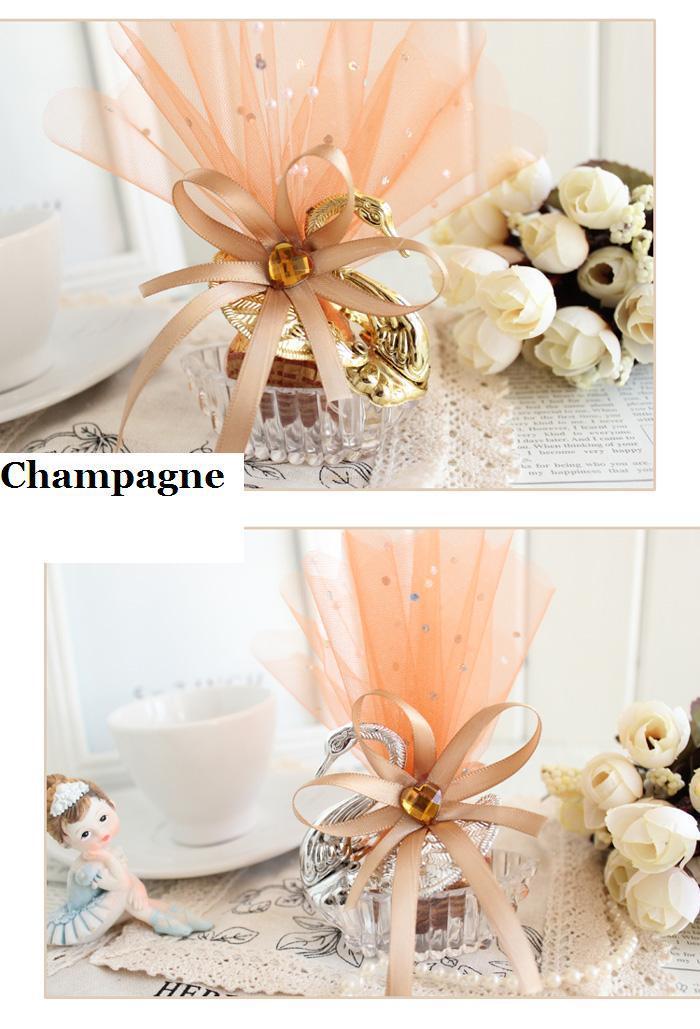 Özel Gümüş Altın Kuğu Şampanya Gazlı Bez Ile Jewely Kutusu Ile Düğün Şeker Kutusu Bebek Duş Sweetbox Düğün sahipleri Yanadır