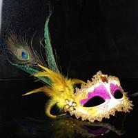 máscaras de pavo real plumas al por mayor-2015 mujeres sexy Hallowmas máscara veneciana mascarada faisán plumas de pavo real máscaras media máscara de la cara del partido de la bola exquisita 20 unids / lote