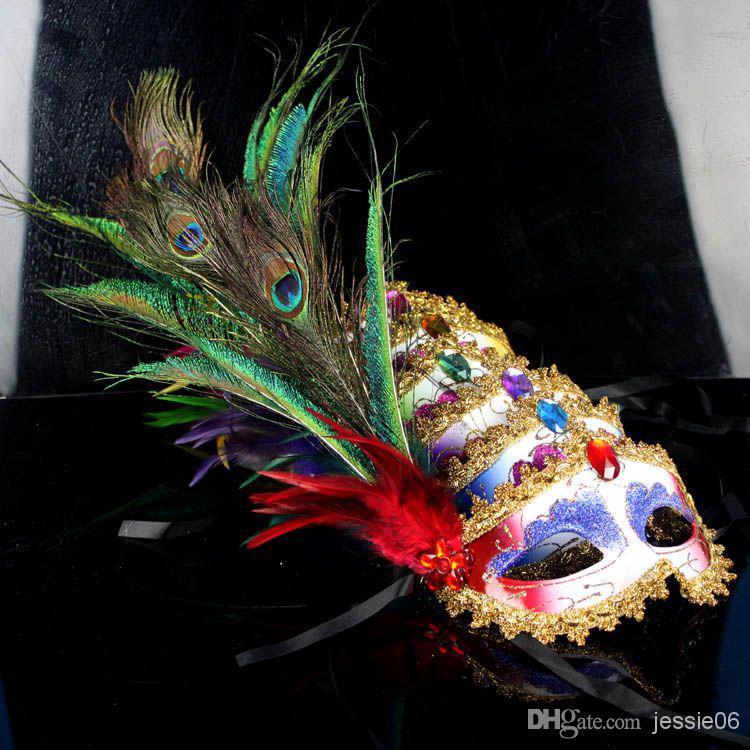 2015 donne sexy hallowmas veneziana maschera masquerade fagiano piume di pavone maschere mezza faccia maschera palla partito squisito 20 pz / lotto