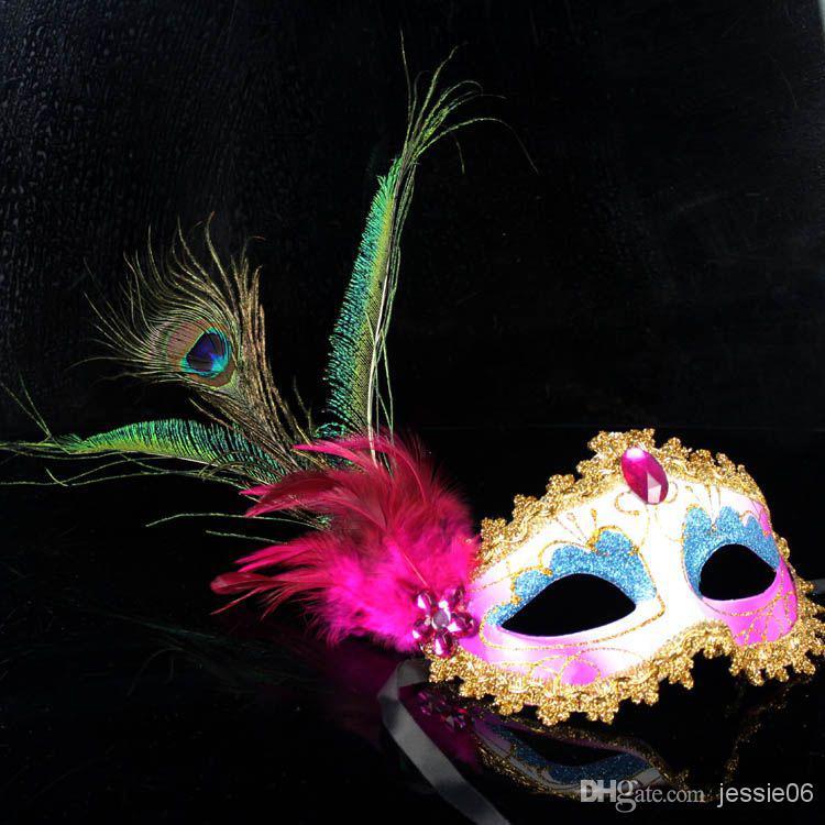 2015 mujeres sexy Hallowmas máscara veneciana mascarada faisán plumas de pavo real máscaras media máscara de la cara del partido de la bola exquisita 20 unids / lote