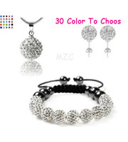Wholesale Necklace Earring Sets White Black - 10Pcs lot 10mm crystal clay best new arrival disco bead Rhinestone shamballa Set bracelet necklace studs earrings jewelry set hot sale