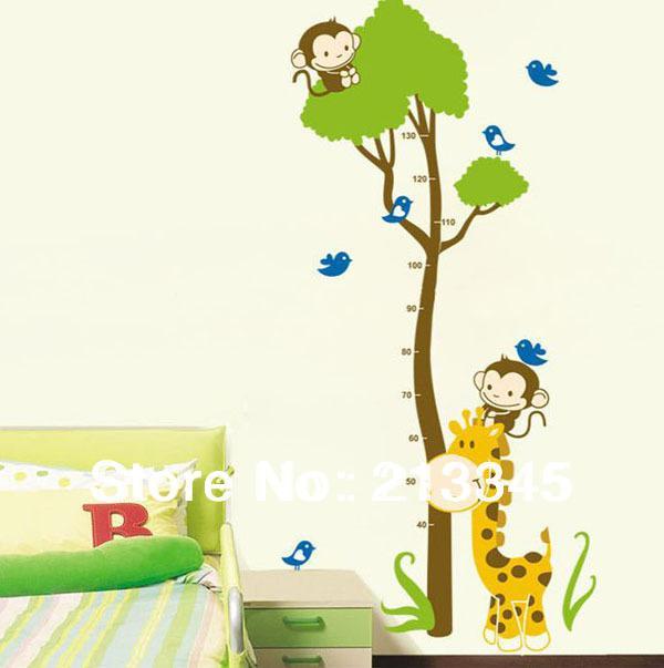 Saturday Mall Giraffe Monkey Tree Sticker Kids Growth Chart Height
