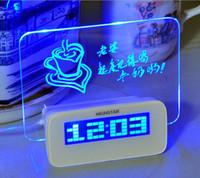 mensaje usb light al por mayor-Tablero de mensajes fluorescente Reloj Alarma Temperatura Calendario Temporizador Hub USB Luz verde LED Escritorio digital Director Relojes de mesa