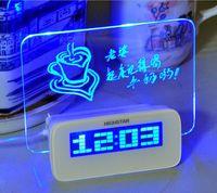 светодиодные цифровые часы зеленый оптовых-Флуоресцентная доска для сообщений Часы Будильник Температура Календарь Таймер USB-концентратор Зеленый светодиод Цифровой настольный компьютер Настольные часы