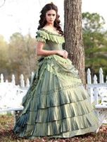 Wholesale Silver Ball Piercing - katherine pierce dress with sage lace taffeta ruffles Off the shoulder Quinceanera dresses ball gown prom women gowns