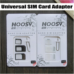 Wholesale 4s Accessories - NOOSY Nano Micro to Standard SIM Card Adapter for iPhone 4 4S 5 5S 5C Galaxy S4 S5 Universal 4 in 1 Set Accessory & Eject Pin Free DHL
