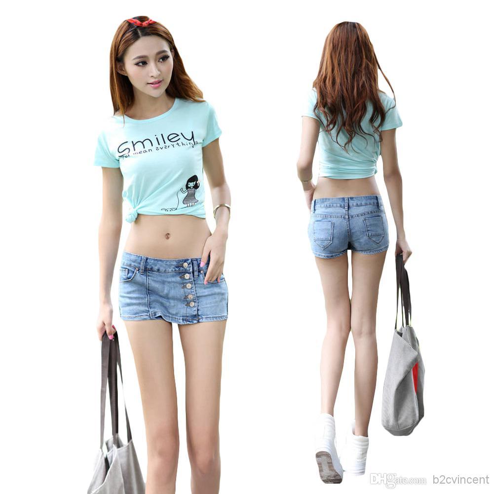 2017 S5q Retro Women'S Girls Denim High Waist Shorts Jeans Vintage ...