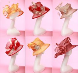 Wholesale Sun Hat Bulk - Women's Hat Sinamay Hat Tiop Hat Millinery Chapeau 6 Pieces Lot Bulk Wholesale Price Elagant Free EMS Shipping