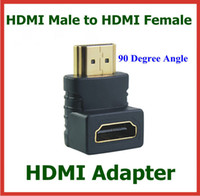 hdmi genişletilmiş kablo toptan satış-10 adet HDMI Erkek hdmi Kadın 90 Derece Açı Adaptörü HDMI Kablosu Konnektör Dönüştürücü Uzatın
