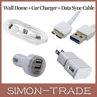 3 in 1 Wand Home Dual USB Car Charge US EU Set Kits Data Sync 3.0 Kabel Kabel für Samsung Galaxy S5 i9600 Hinweis 3 White Black