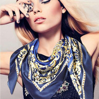 Wholesale Graceful Shawls - Fashion Graceful Printed Small Square For Ladies Stewardess Multicolor Silk Scarf