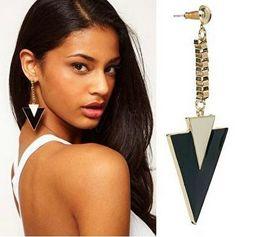 Wholesale Girls Enamel Jewelry - Costume Jewelry Fashion Earrings Latest Style Popular Individual Triangle Enamel Alloy Punk Long Drop Earrings for Girls