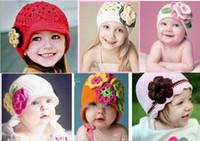 Wholesale Knit Hats For Infant Girls - Many designs option! NEW popular-HANDMADE crochet beanies caps hats, knitting cap hat for kids baby infants toddlers girl