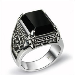 Wholesale Engraved 925 - 925 sterling silver ring engraved Seiko natural obsidian Men's Rings