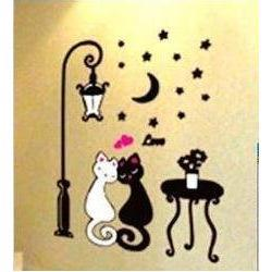 Wholesale Cat House Diy - Free shipping, PVC Cat Lover wall stickers,children's Favorites,Fashion DIY house sticker,TC920, white and black cat in night
