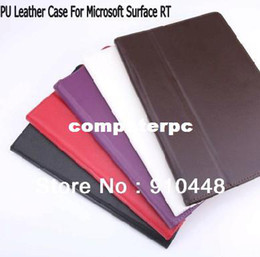 Wholesale Surface Rt Cases - Free shipping Premium PU Leather stand Case flip Cover For Microsoft windows Surface RT 10.6""