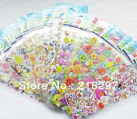 Wholesale Kid Puffy - Free Shipping 100sets lot New Kids Foam 3D DIY Child Cartoon Puffy Car Wall Sticker Action Figure Boy Girl Toy Gift for Child