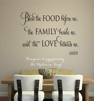 "Wholesale Bless Home Wall Quote - "" Bless The Food "" Vinyl Lettering Wall Decal Words Home Kitchen Art Wall Stickers Faith Quote"