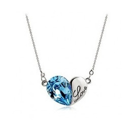 Wholesale Lady Austrian Crystal - Austrian Crystal Love Heart Pendant Necklace 2014 New Lady Jewelry