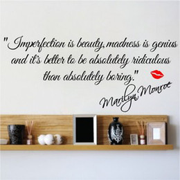 Wholesale Vinyl Marilyn - FF Imperfection Is Beauty Marilyn Monroe Wall Sticker Quote Decal Art Deco Vinyl