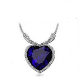 Wholesale Titanic Blue Pendant - Classic Luxury Austrian Crystal Titanic Love Of Heart Diamond Pendant Necklace Blue