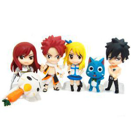 Wholesale Anime Figure Fairy Tail - Fairy Tail Happy Manga Mini PVC Doll Japanese Comics And Anime Action Figure Model Collection Cartoon Clsssic Toys 6 pcs   set Free shipping