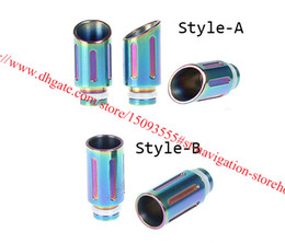 Wholesale Ego Color Drip Tip - E Cigarettes Rainbow Color Wide Bore Drip Tip with Pure Stainless Steel Fit E cigares Vaporizer Protank EGO Drip Tips 510 Mouthpiece