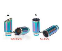 tubo silenciador al por mayor-Las últimas puntas de goteo del arco iris Puntas de goteo del silenciador y del tubo Puntas de goteo de gran diámetro de acero inoxidable para CE4 DCT Vivi Nova 510 EGO Atomizador