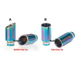 Wholesale Tube For Vivi Nova - Latest Rainbow Drip Tips Muffler and Tube Drip Tips Stainless Steel Wide Bore Drip Tip for CE4 DCT Vivi Nova 510 EGO Atomizer