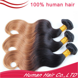 "Wholesale Ombre Hair Extension 100% Human Hair Weave 8""- 24"" Color 1B# #27 Grade 5A Indian Virgin Hair Body Wave"