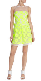 Wholesale Neon Sexy Dress - Neon Floral Embroidery Women Dress Sexy Elegant Party Dresses 7229
