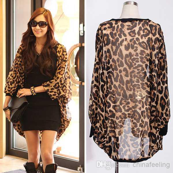 Women'S Leopard Chiffon Jacket New Ladies' Long Sleeve Blazers ...