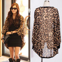 Wholesale Ladies Blazers Free Shipping - Women's Leopard Chiffon Jacket New Ladies' Long-sleeve Blazers Suits Outerwear Fashion Chiffon Blouse Free Drop Shipping