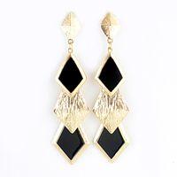 Wholesale Rhombus Earrings - Fashion Jewelry Hot Selling Gold Color Alloy Colorful Rhombus Shape Enamel Dangle Earrings for Women