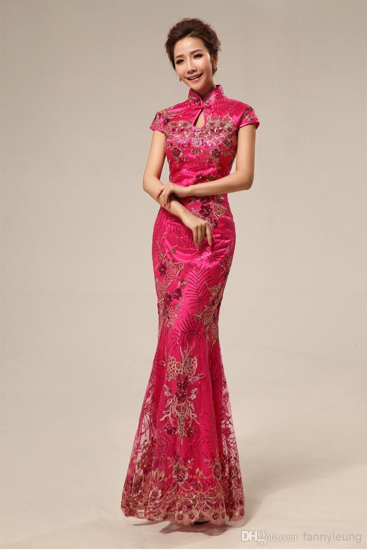 9856201a1 Mother Of The Bride Dresses XXXL Red Chinese Traditional Long Cheongsam  Wedding Evening Qipao Dress Y633 Rose Red Cheongsam Dresses Online Cheongsam  For ...