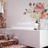 Wholesale Wall Stickers Peony - 1PC 60*90cm Pink Peony Large Vinyl Wall Art Decals Bedroom&Living Room Decorative Wall Stickers On the Walls Bathroom Decor