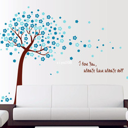 Wholesale Tree Mural Pink Flowers - New Hot Sale! 2 piece set Pink&Blue Color Sakura Flowers Tree Wall Sticker Mural Decals Art Transparent pvc Removable Wallpaper
