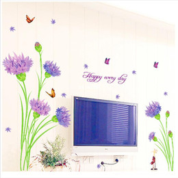 Big Discount On Sale 1 Piece Purple Carnation Flowers Wall Sticker Removable Vinyl Wall Decals 145 100cm Home Art Decor Mural