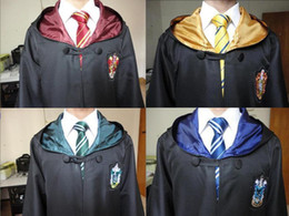Wholesale Blue Green Music - Free Shipping Harry Potter Cosplay Hogwarts Robe Cloak Which a Tie Gryffindor Slytherin Hufflepuff Ravenclaw 4 House 4 Size Can Chose