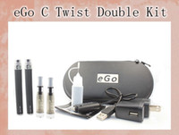 Wholesale E Cigarette Ce4 Dual Kit - eGo C Twist Double Kits CE4 Atomizer 650 900  1100mah ego-c twist Battery for E Cigarette E Cig Dual Kits All Colors Available YA0212