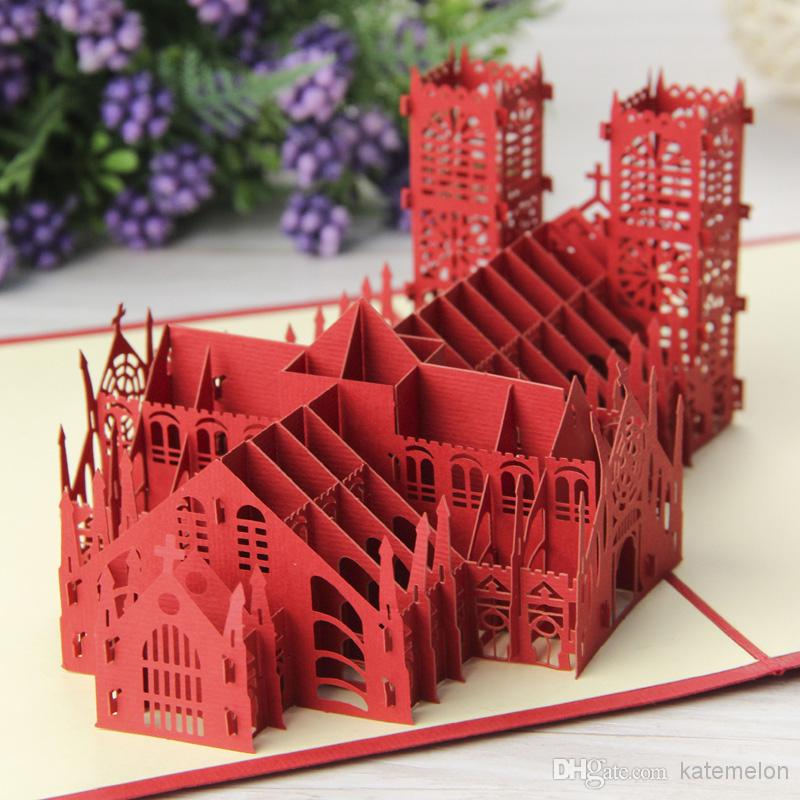 Excusive Westminster Cathedral Homemade Creative Kirigami Origami 3D Pop UP Invitations Gift Cards Free Shipping