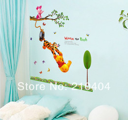 Wholesale Winnie Pooh Tree - Winnie the Pooh Nursery Childrens Wall Sticker Tree Branch Swing Home Decoration Art Home Wall Decals Removable