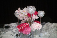 Wholesale cheap wedding candle centerpieces for sale - cheap one set set one sliver crystal candle holder centerpieces for wedding